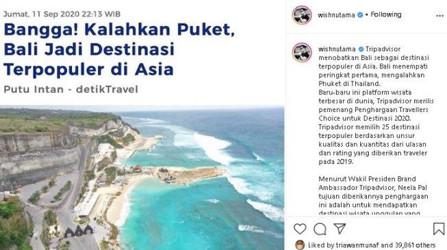 Unggahan Wishnutama soal Bali jadi wisata terpopuler Asia 2020. (Instagram/@wishnutama)